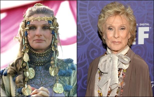 Cloris Leachman como a Rainha Hipólita do seriado 'Mulher Maravilha' (1975–1979), quando estava apenas chegando à casa dos 50 anos, e atualmente, com 88. (Foto: Divulgação e Getty Images)