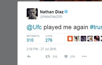 "BLOG: Nate Diaz reclama do UFC em post misterioso: ""Me enganou de novo"""