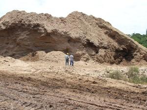 Biomassa de cana-de- açúcar forma uma montanha no parque indústrial da usina (Foto: Waldson Costa/G1)