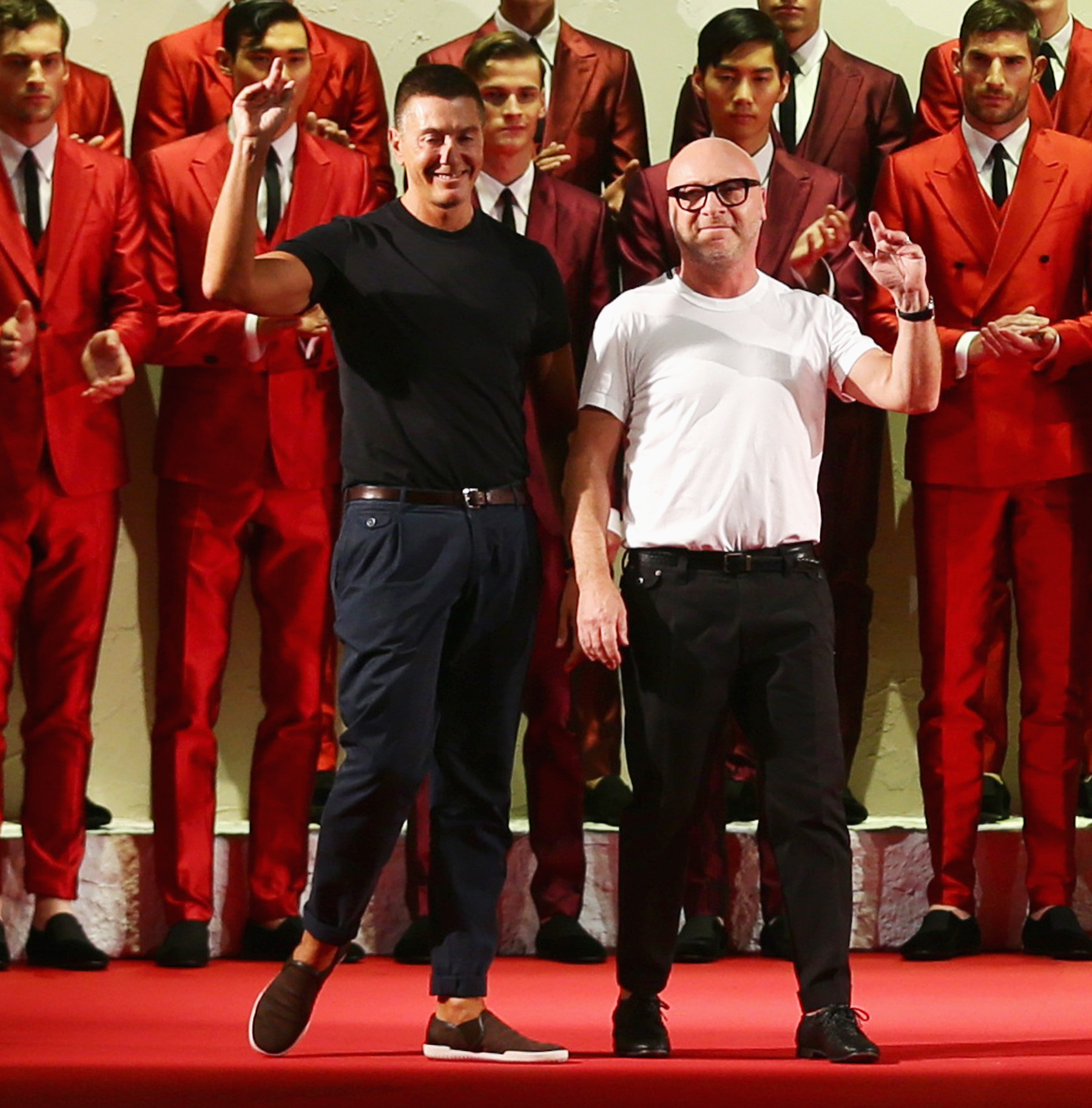 5ce280d556b92 MILAN, ITALY - JUNE 21  Designers Stefano Gabbana and Domenico Dolce  acknowledges the applause