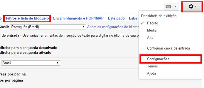 Lista de bloqueios pode ser gerenciada em conjunto com filtros (Foto: Reprodução/Gmail)