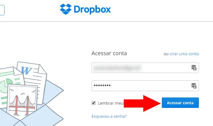 Faça login no Dropbox na web (Foto: Reprodução/Paulo Alves)