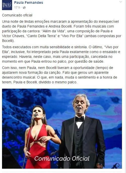 Comunicado na página de Facebook de Paula Fernandes após falha em show de Andrea Bocelli (Foto: Reprodução/Facebook)