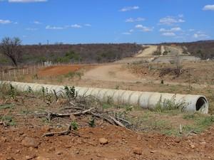 Estruturas estão por quase toda a extensão da obra, que segue paralisada no Piauí (Foto: Patrícia Andrade/G1)