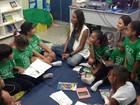 Grávida, Flávia Sampaio participa de trabalho social com crianças