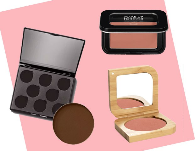 Estojo de sombras refil, R$ 27, 90, e sombra refil Mate Marrondito, R$ 19,90, quem disse, berenice?/ Sombra Artist Face Color, cor S310, Make Up For Ever/Blush mineral cor Glamor, BAIMS (Foto: Divulgação)