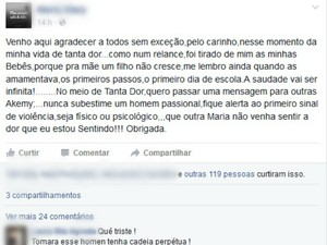 Mãe de brasileiras postou desabafo nas redes sociais (Foto: Reprodução/ Facebook)