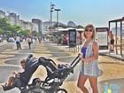 Bárbara Borges registra primeiro passeio dos filhos juntos com o cão