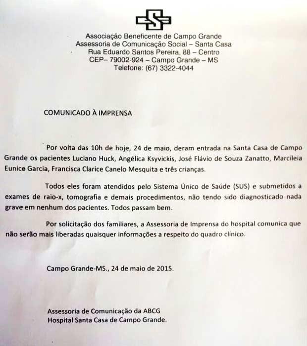 Nota divulgada pela Santa Casa sobre estado de saúde de Angélica e Luciano. (Foto: Reprodução/Divulgação)
