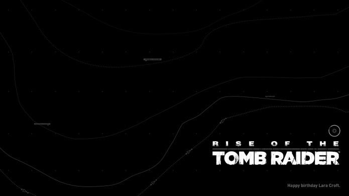 No canto inferior direito da tela podemos ver o Happy Birthday Lara Croft em Rise of the Tomb Raider (Foto: Reprodução/WikiRaider)