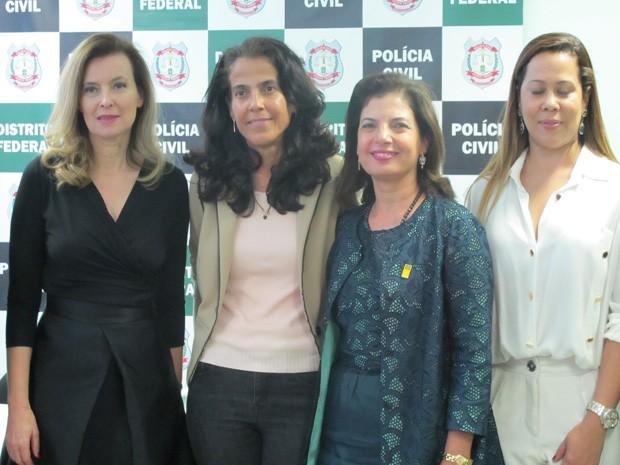Primeira-dama da França visita delegacia de atendimento à mulher em Brasília (Foto: Lucas Salomão/G1)