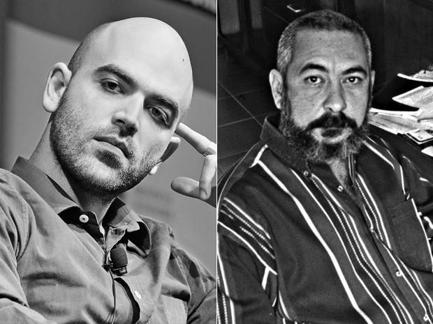 À esquerda, o escritor italiano Roberto Saviano, e, à dir., o cubano Leonardo Padura (Foto: Divulgação/Cia das Letras)