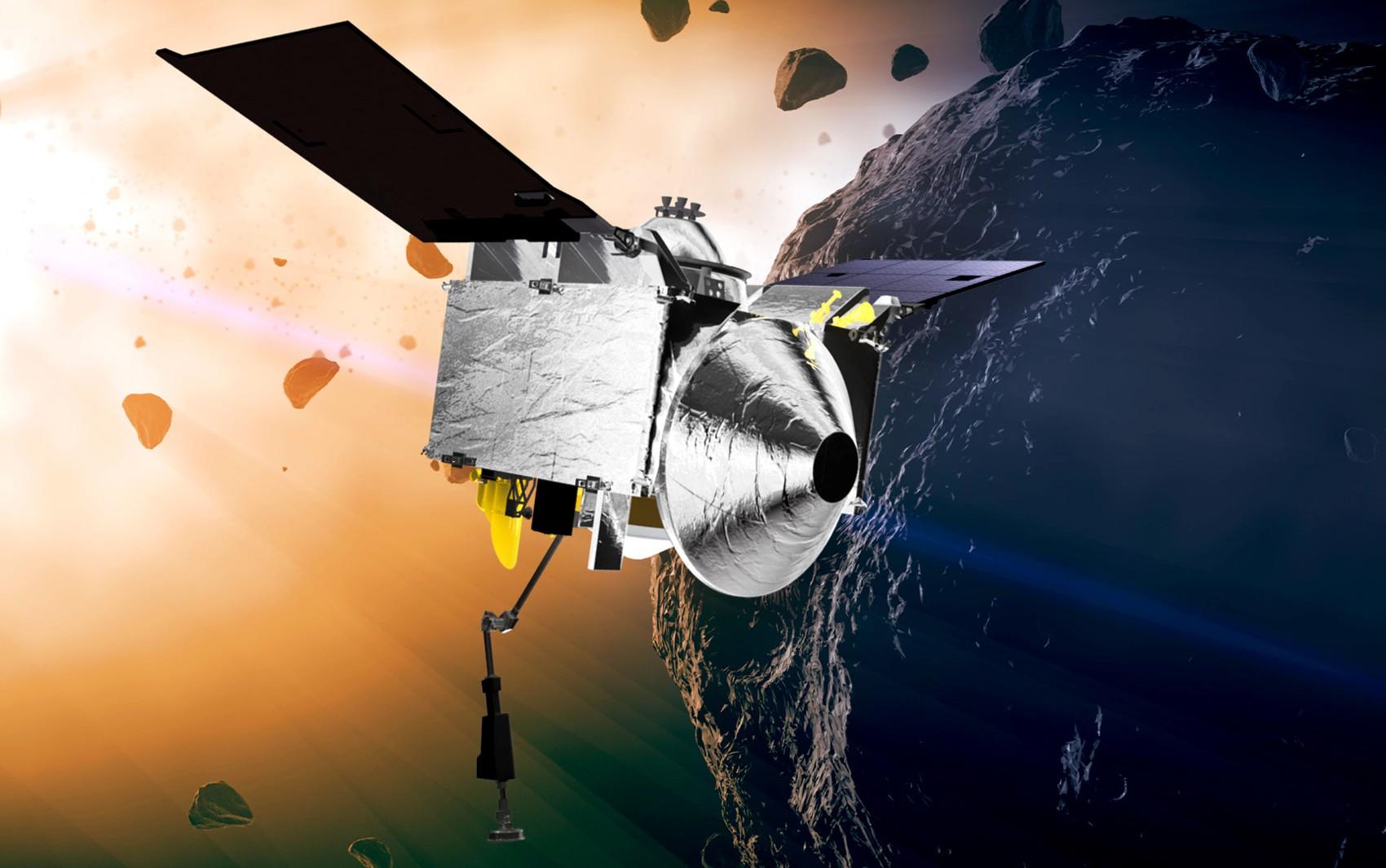 Ilustração mostra Osiris-Rex chegando a asteroide Bennu NASA's  (Foto: Goddard Space Flight Center/Conceptual Image Lab)