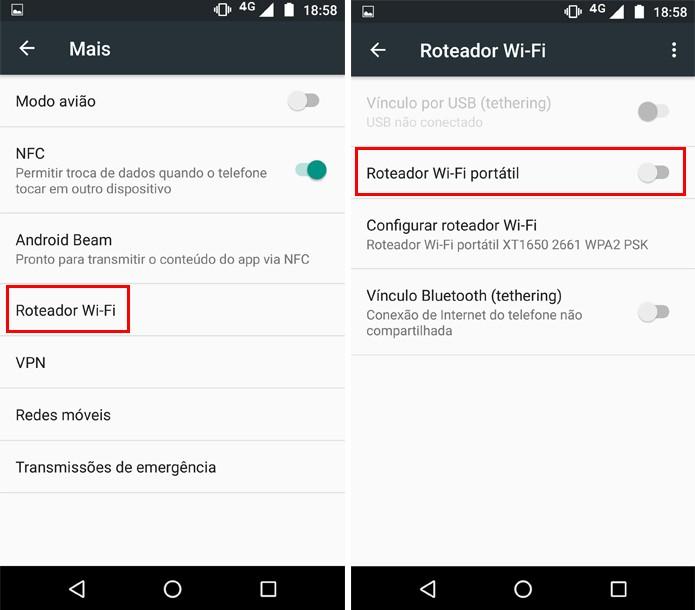 """Ative a opção """"Roteador Wi-Fi portátil"""" no Moto Z (Foto: Reprodução/Aline Batista)"""