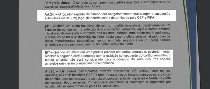 Regulamento do Campeonato Piauiense - cartões amarelos (Foto: Reprodução/FFP)