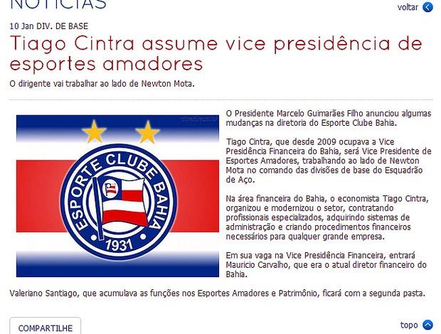 Nota do Bahia sobre Tiago Cintra e Maurício Carvalho (Foto: Reprodução)