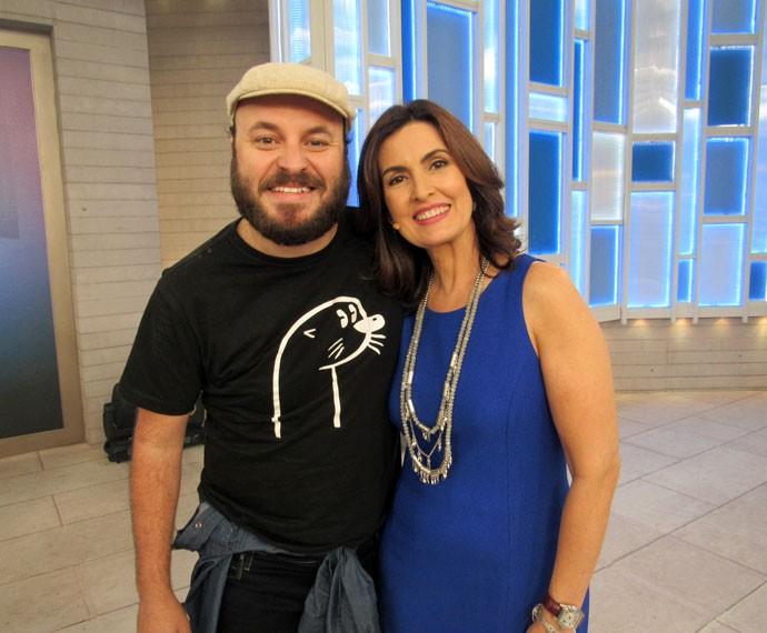 Fátima com o ator Paulinho Serra (Foto: Viviane Figueiredo Neto/Gshow)