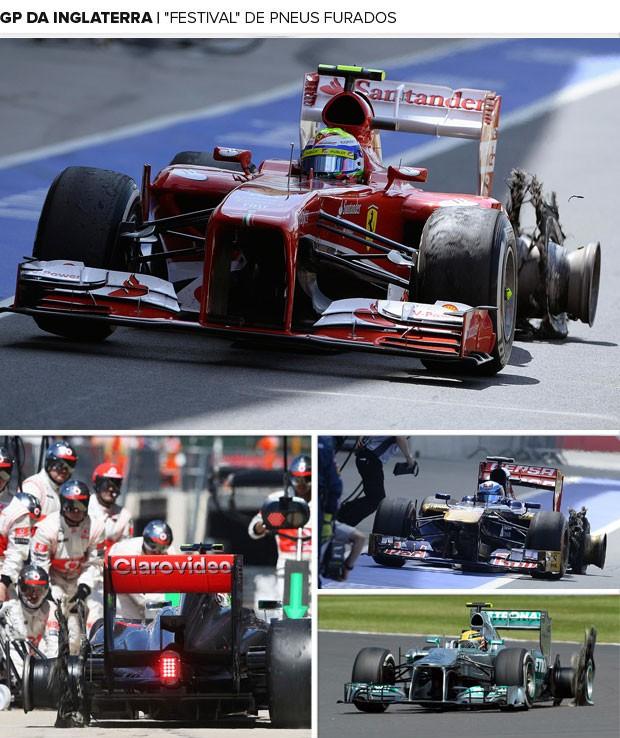 Mosaico GP da Inglaterra pneus furados (Foto: Montagem sobre foto da Getty Images)