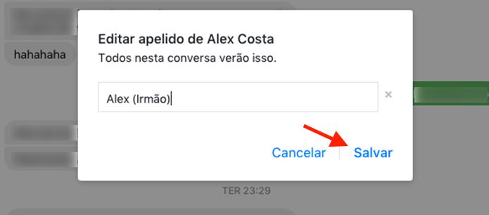 Opção para adicionar um apelido em um contato no bate papo do Facebook (Foto: Reprodução/Marvin Costa)