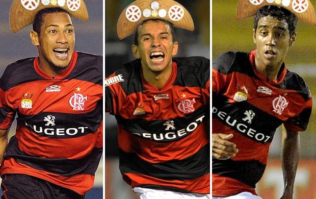 montagem Hernane Rafinha Gabriel Flamengo nordestinos chapeu (Foto: Editoria de Arte / Globoesporte.com)