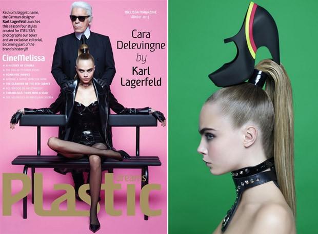 Karl Lagerfeld e Cara Delevingne na nova edição da revista da marca, Plastic Dreams (Foto: Reprodução)