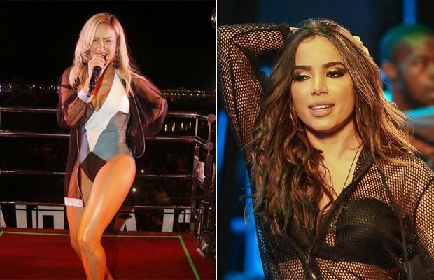 Anitta elogia pernas de Claudia Leitte (Foto: Fred Pontes/Divulgação e Agnews)