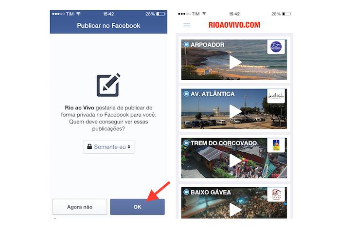 Finalizando a sincronia com o Facebook e acessando a interface do Rio ao Vivo (Foto: Reprodução/Marvin Costa)