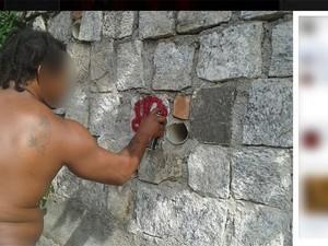 Um dos suspeitos postou foto dele próprio pichando um muro. Sinal é semelhante ao pichado na cabeça da estátua de Zumbi (abaixo) (Foto: Reprodução / Facebook)