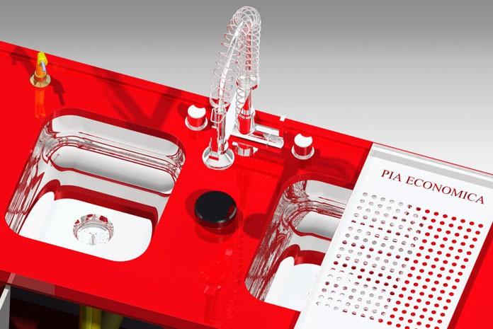 Layout de sistema que trata água de lavagem da louça e faz reúso em pia criado por designer de SP