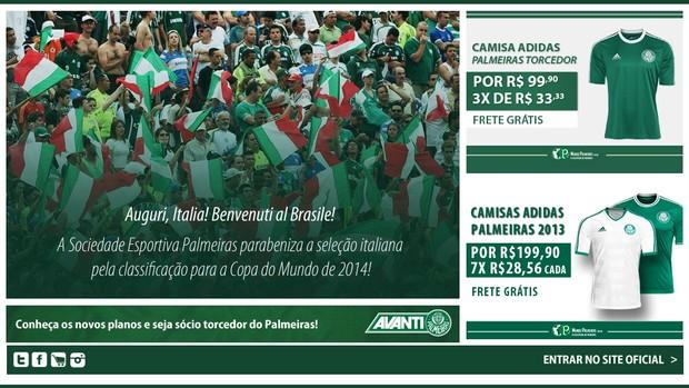 Site oficial do Palmeiras (Foto: Reprodução)
