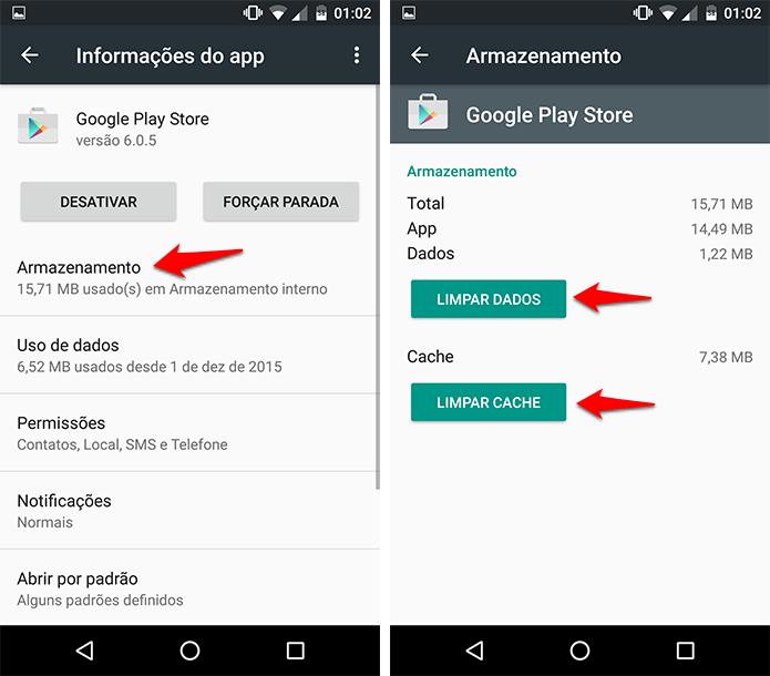 Limpe o cache e os dados da Play Store. (Foto: Reprodução/Alessandro Junior)