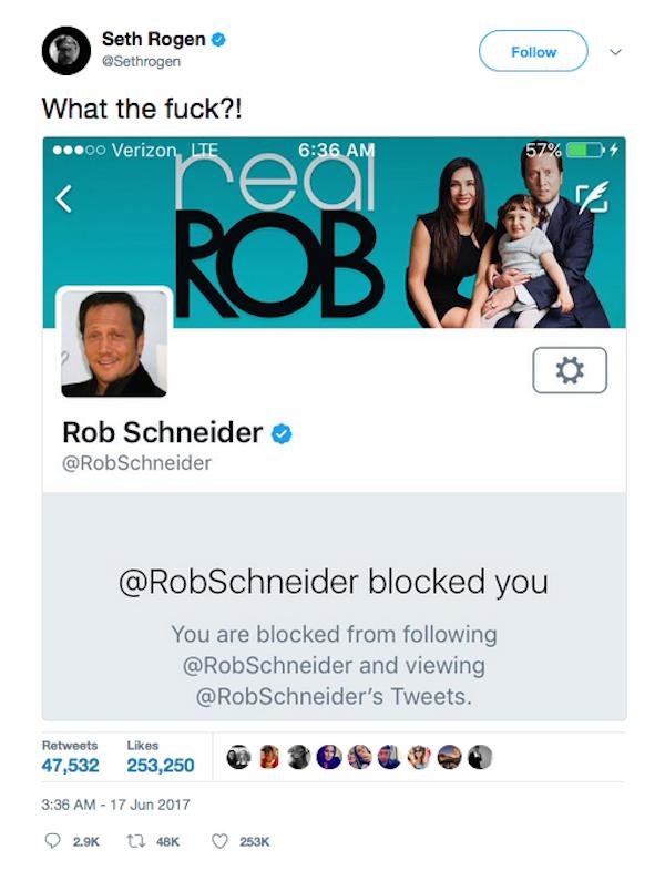 Seth Rogen revelando ter sido bloqueado por Rob Schneider (Foto: Twitter)