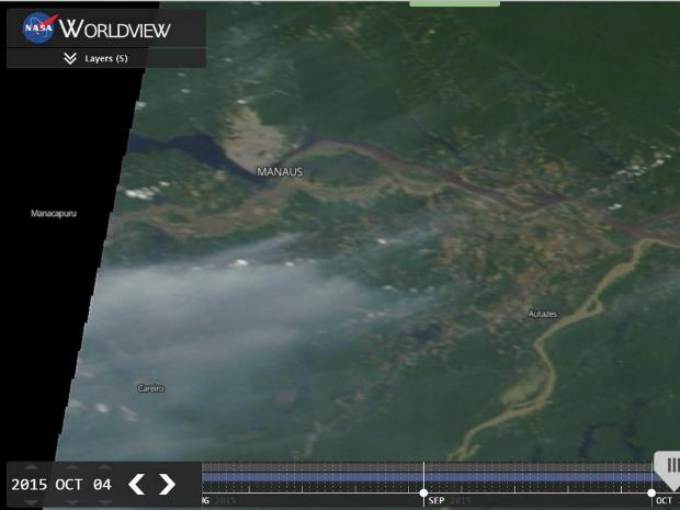 Imagem foi capturada por satélites nesta segunda-feira (5) (Foto: Reprodução/ Nasa)