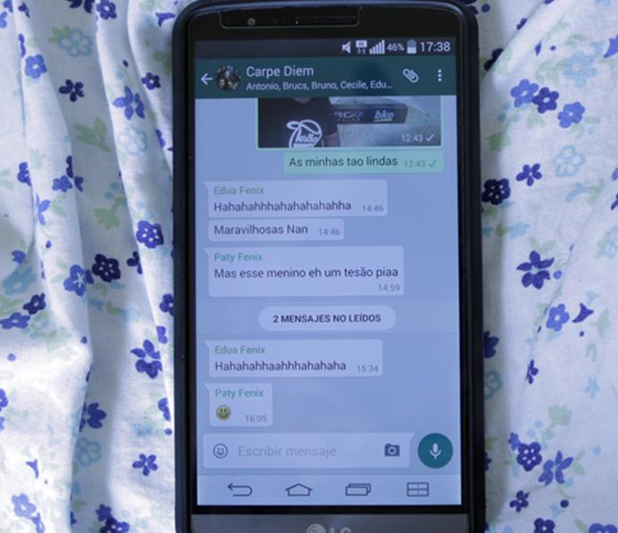 Última mensgem de Ronan no celular (Foto: Tv Globo)