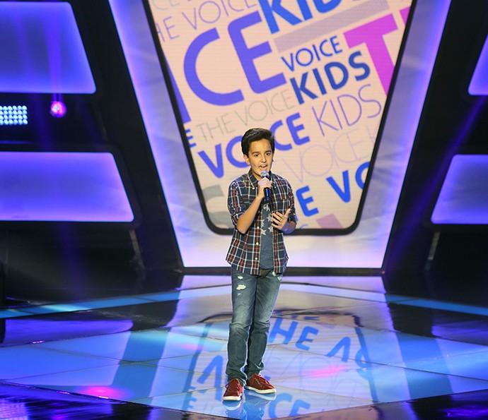 Gabriel Gava canta 'Dois Rios' na Audição do The Voice Kids (Foto: Isabella Pinheiro/Gshow)