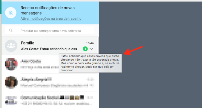 Mensagem de grupo visualizada sem abrir o chat por meio do WhatsApp Web (Foto: Reprodução/Marvin Costa)