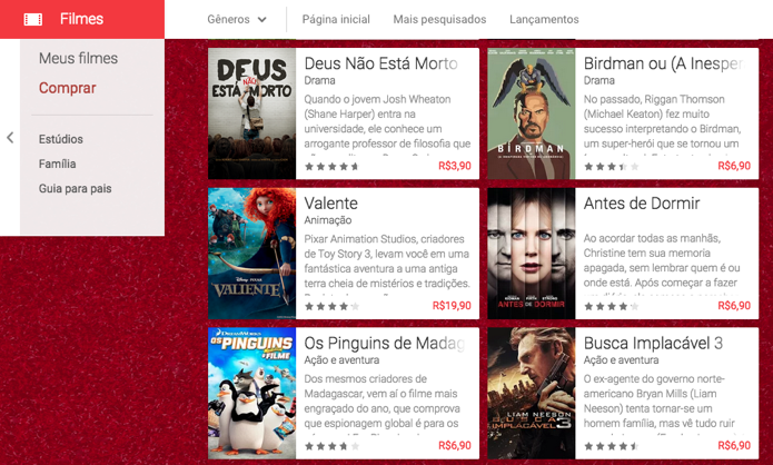 Escolha qualquer filme da biblioteca, incluindo lançamentos (Foto: Reprodução/Paulo Alves)