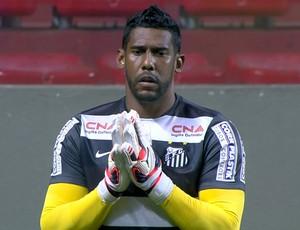 Aranha foi aplaudido pela torcida do Atlético-MG no aquecimento (Foto: Reprodução/Sportv)