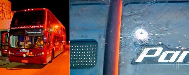 Além do motorista baleado, o para-brisas do veículo também foi atingido pelos disparos (Foto: Reprodução/Inter TV Cabugi)