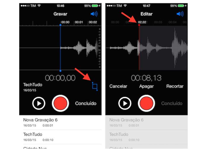Selecionando um local do áudio que será apagado no gravador do iOS (Foto: Reprodução/Marvin Costa (Foto: Selecionando um local do áudio que será apagado no gravador do iOS (Foto: Reprodução/Marvin Costa)