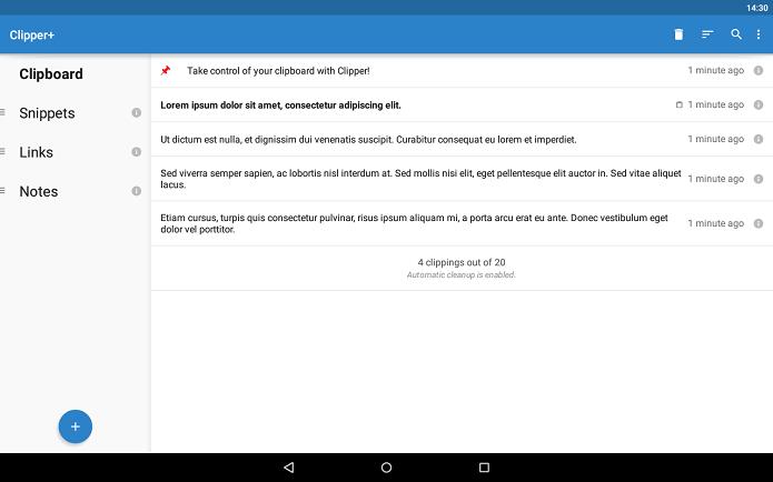 Clipper é um app que registra textos usados na área de transferência (Foto: Divulgação)