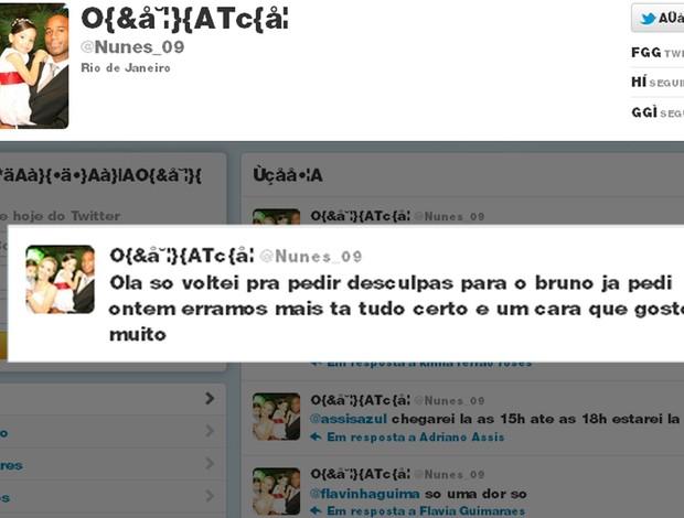 Twitter Nunes, pedi desculpas ao Bruno (Foto: Reprodução / Twitter Nunes)
