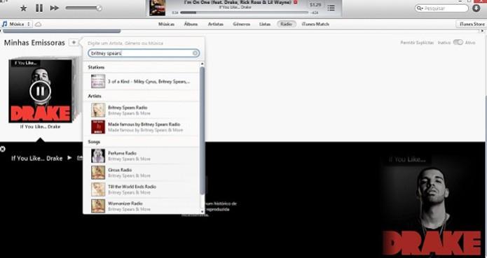 Reprodução de rádios no iTunes Radio da Apple (Foto: Reprodução/Thiago Barros)