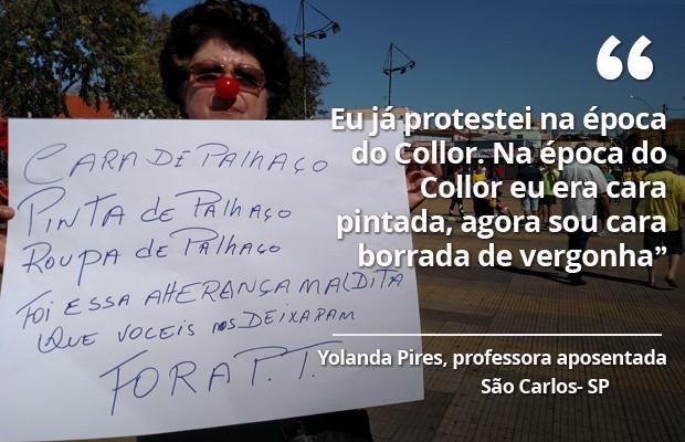 Manifestante em São Carlos