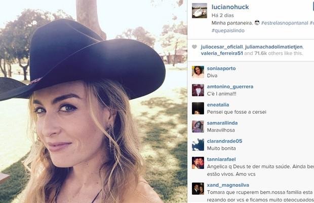 """Luciano Huck publicou foto de Angélica no Instagram gravando programa """"Estrelas"""" no Pantanal na sexta-feira (22) (Foto: Reprodução/Instagram)"""
