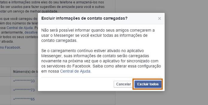 Confirme e exclua os dados dos seus contatos pelo Facebook no PC (Foto: Reprodução/Barbara Mannara)