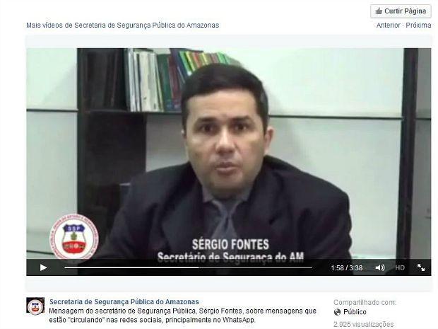 Sérgio Fontes divulgou mensagem à população de Manaus nesta terça-feira (21) (Foto: Reprodução/Facebook)