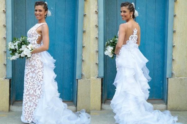 Vestido do estilista Adhemir Preschadt para Grazi Massafera, a Ester de Flor do Caribe (Foto: Flor do Caribe/TV Globo)