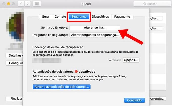 Altere a senha do iCloud (Foto: Reprodução/Paulo Alves)