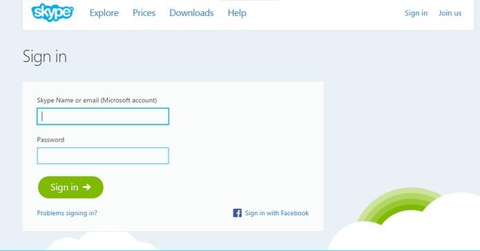 Skype web só precisa do seu login e senha  (Foto: Reprodução/Barbara Mannara)